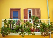 Un balcone con i fiori Immagini Stock