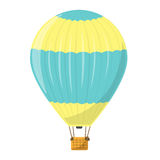 Un ballon à air chaud dans jaune et bleu Aérostat d'isolement Photo libre de droits