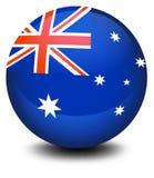 Un ballon de football avec le drapeau de l'Australie illustration stock