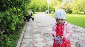 un bambino cammina nel parco stock footage