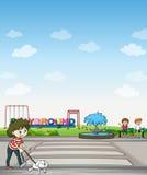 Un bambino con il suo cane attraverso un campo da giuoco illustrazione vettoriale