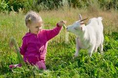 Un bambino con una capra fotografie stock