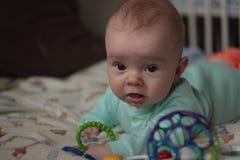 c81067b8ea Un bambino di 5 mesi che gioca con i giocattoli fotografia stock libera da  diritti