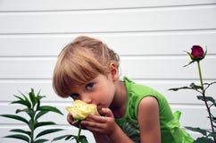 Un bambino e una rosa Fotografia Stock