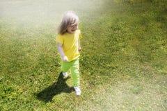 Un bambino felice sta camminando sull'erba un giorno di estate soleggiato sunlight Vista da sopra Immagini Stock