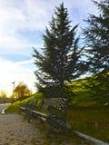 Un banc de fer sur un parc l'automne Photographie stock