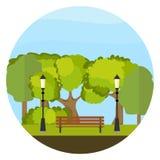 Un banc en parc, un banc entouré par des arbres illustration de vecteur