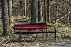 Un banc rouge image stock