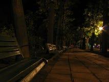 Un banch alla notte Fotografie Stock