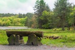 Un banco de madera en el paseo alrededor de Bass Lake imagenes de archivo