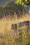 Un banco di legno nella campagna immagini stock