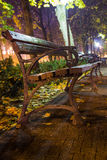 Un banco en un parque del otoño Imagen de archivo