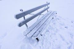 Un banco ghiacciato e nevoso triste e solo immagini stock