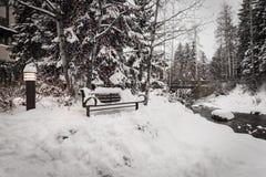 Un banco innevato in Vail, Colorado durante l'inverno immagini stock libere da diritti