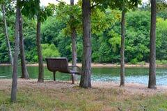 Un banco, sentándose en una arboleda de árboles por un lago Foto de archivo libre de regalías