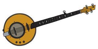 Un banjo elettrico giallo di cinque corde illustrazione di stock