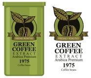 Un barattolo di latta con l'etichetta per caffè verde Immagine Stock Libera da Diritti