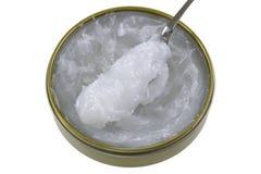 Un barattolo di Mink Oil, lubrificare cuoio Fotografia Stock Libera da Diritti