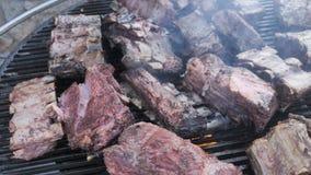 Un barbecue americano per la grande compagnia in un weekend Slow motion 4k Cottura grandi pezzi succinti di grasso grezzo stock footage