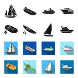 Un barco de pesca de goma, un kajak con los remos, un goleta de la pesca, un yate del motor Naves y colección determinada del tra Fotos de archivo