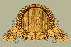 Un baril de bière, d'oreilles de blé et d'houblon Image libre de droits