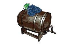 Un barilotto con un mazzo di uva illustrazione vettoriale