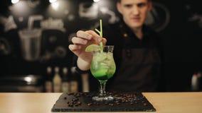 Un barman masculin de sourire met une paille dans le mojito sur un compteur de barre clips vidéos