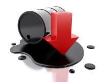 un barril de petróleo 3d se derramó con una flecha que señalaba abajo ilustración del vector