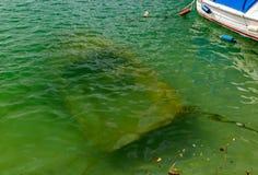 Un bateau à rames submergé se trouve au sol photos libres de droits