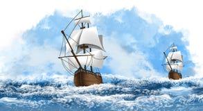 Un bateau avec les voiles blanches sur les vagues de la mer, l'océan Fond marin, illustration d'un bateau illustration de vecteur