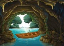 Un bateau dans la caverne illustration stock