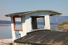 Un bateau historique d'excursion sur l'affichage à l'atlin Photographie stock libre de droits