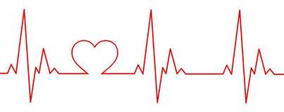 Un battito cardiaco rosso con un cuore nel grafico Immagine Stock
