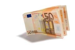 Un batuffolo di 50 euro banconote Fotografia Stock Libera da Diritti