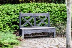 Un beanch di legno del giardino in giardino inglese con il cespuglio e il wod verdi immagine stock