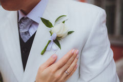 Un beau boutonniere de mariage Photos stock