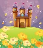 Un beau château dans les domaines illustration de vecteur