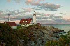 Un beau coucher du soleil du Maine Photos libres de droits