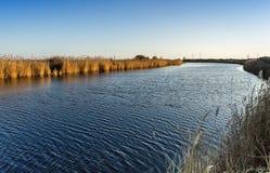 Un beau du paysage de rivière de avant le coucher du soleil Images stock
