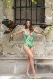 Un beau faucon hispanique de Poses Outdoors With A de mod?le de brune ? une Hacienda photo stock