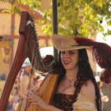 Un beau harpiste au festival de la Renaissance de l'Arizona Images libres de droits