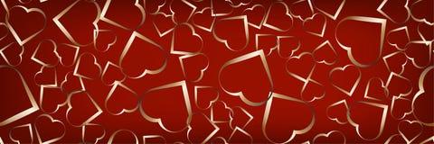 Un beau modèle avec les coeurs d'or sur un contexte rouge Fond panoramique de célébration illustration libre de droits