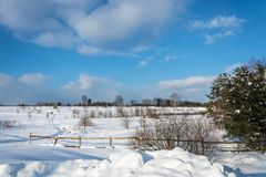 Un beau paysage d'hiver dans un jour givré ensoleillé Photographie stock