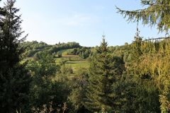Un beau paysage de montagne carpathiens Jardins dans les montagnes images libres de droits