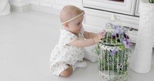 Un bebé lindo se sienta en un piso blanco y juegos con una jaula decorativa almacen de metraje de vídeo