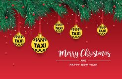 Un bel arbre de Noël dans Illustration pour une carte ou une affiche Nouvelles années et Noël Taxi, voiture illustration stock
