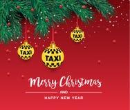 Un bel arbre de Noël dans le vecteur Illustration pour une carte ou une affiche Nouvelles années et Noël Taxi, voiture illustration libre de droits