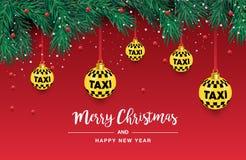 Un bel arbre de Noël dans le vecteur Illustration pour une carte ou une affiche Nouvelles années et Noël Taxi, voiture illustration stock
