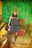 Un bello brunette nei precedenti del wago Fotografie Stock Libere da Diritti