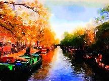 Un bello canale a Amsterdam royalty illustrazione gratis